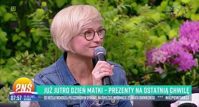 Iza Antosiewicz udziela wywiadu wtelewizji